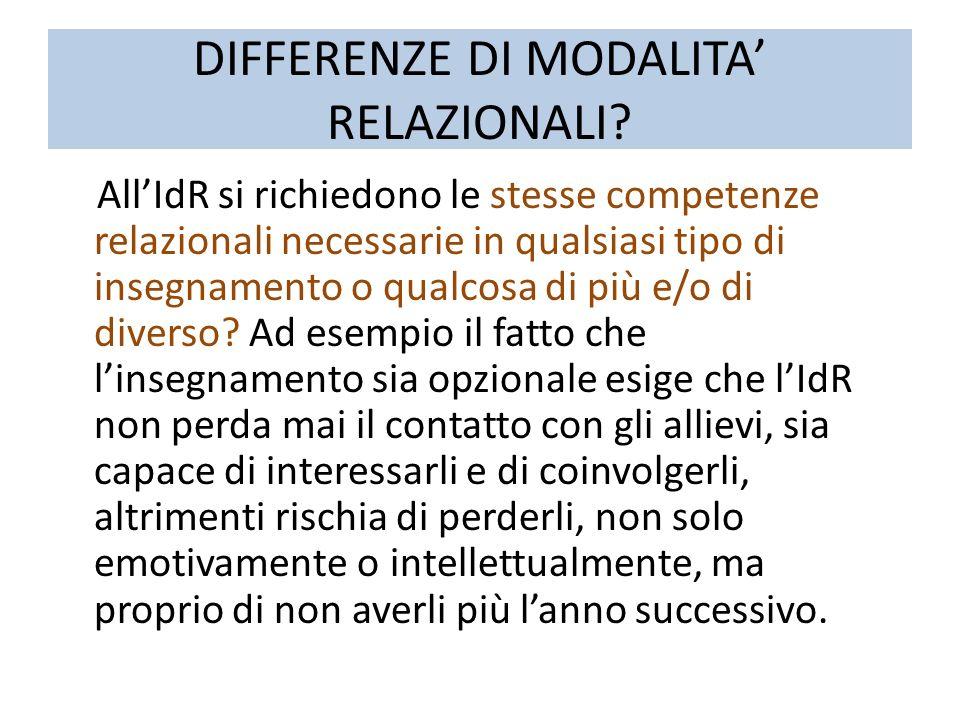 DIFFERENZE DI MODALITA' RELAZIONALI