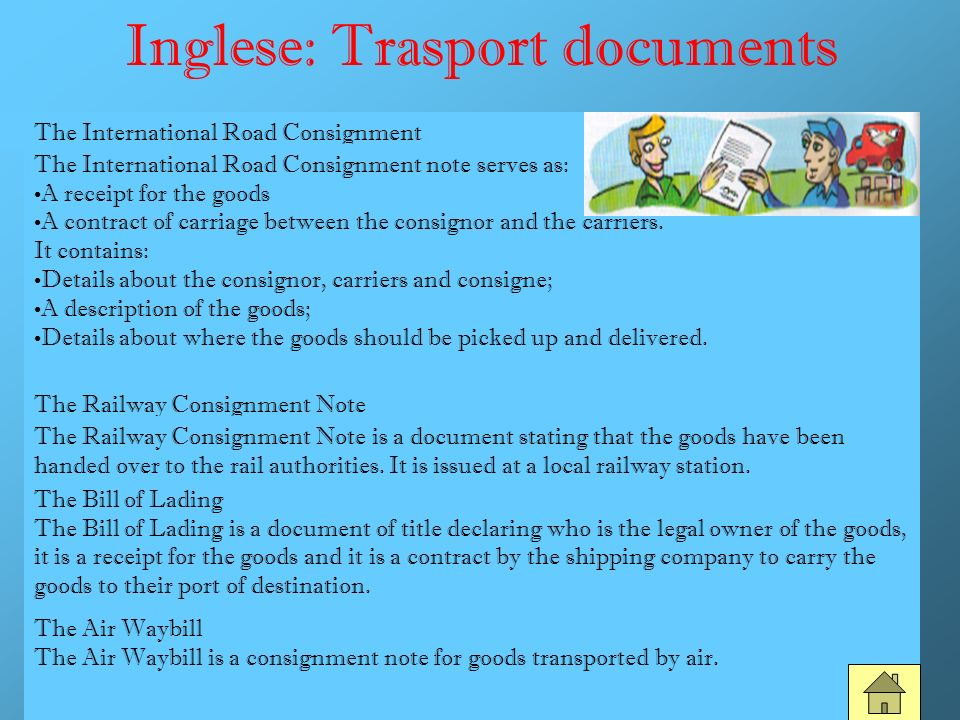 Inglese: Trasport documents
