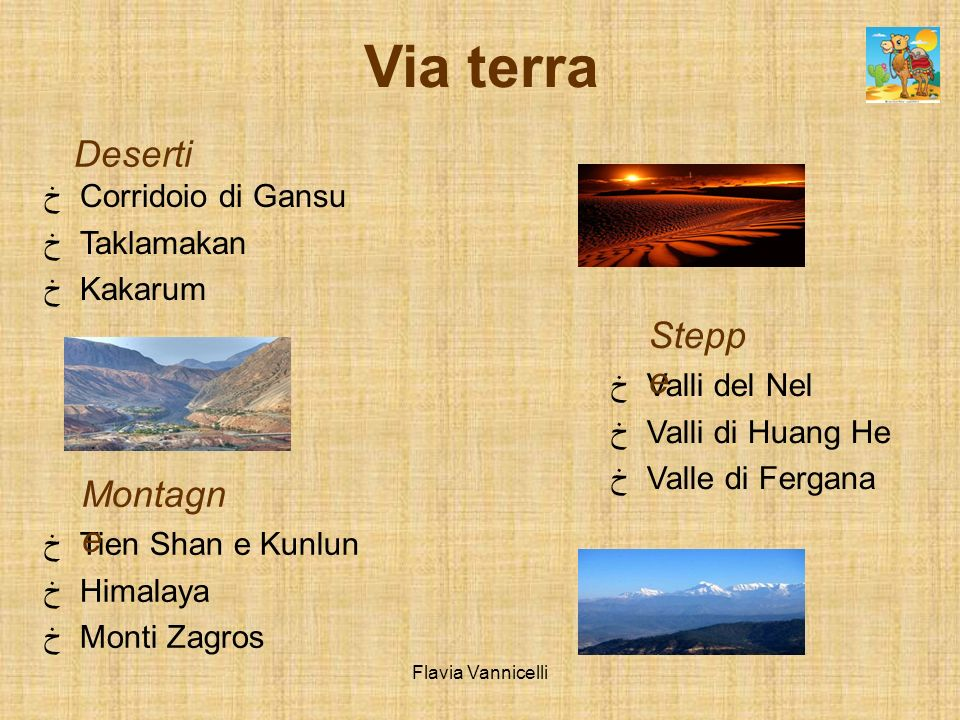 Via terra Deserti Steppe Montagne Corridoio di Gansu Taklamakan
