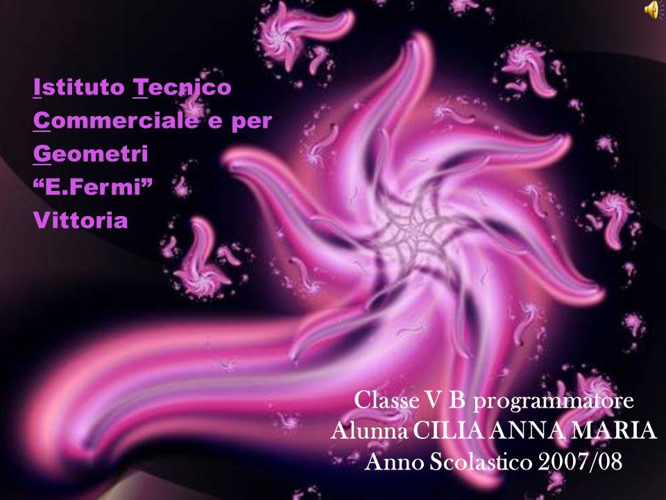 Classe V B programmatore Alunna CILIA ANNA MARIA