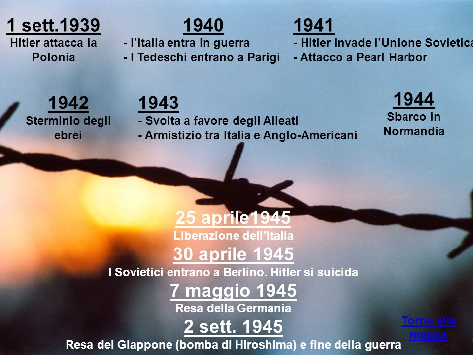 1 sett.1939Hitler attacca la Polonia. 1940. - l'Italia entra in guerra. - I Tedeschi entrano a Parigi.