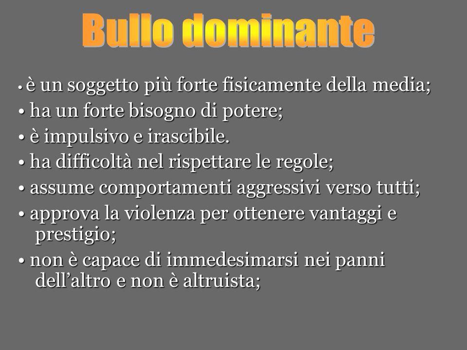 Bullo dominante • ha un forte bisogno di potere;