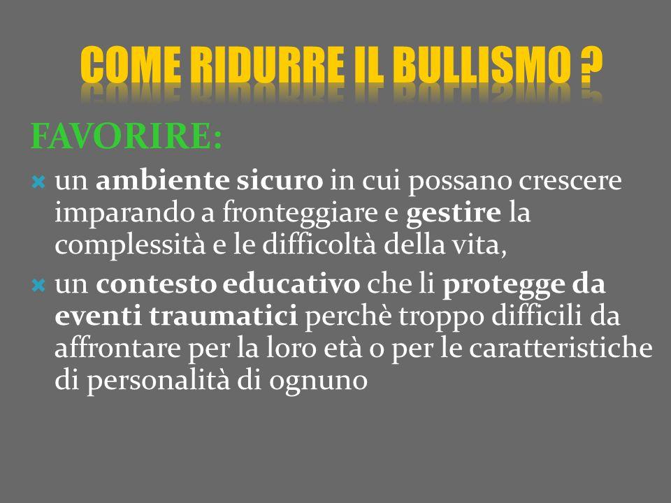 COME RIDURRE il BULLISMO