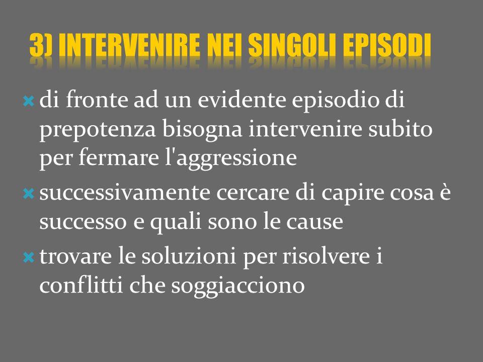 3) intervenire nei singoli episodi