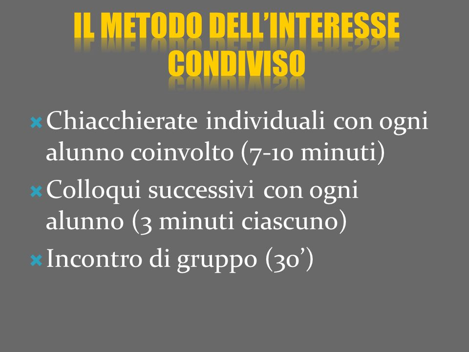 Il metodo dell'interesse condiviso