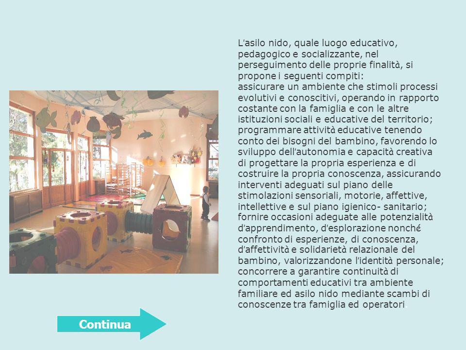 L'asilo nido, quale luogo educativo, pedagogico e socializzante, nel perseguimento delle proprie finalità, si propone i seguenti compiti: