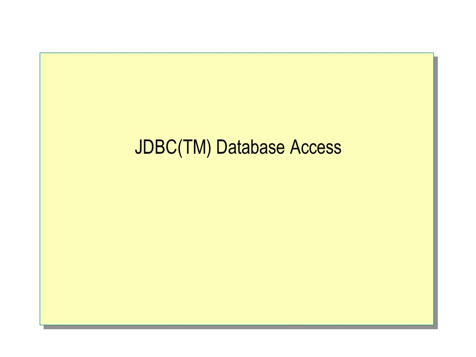 JDBC(TM) Database Access