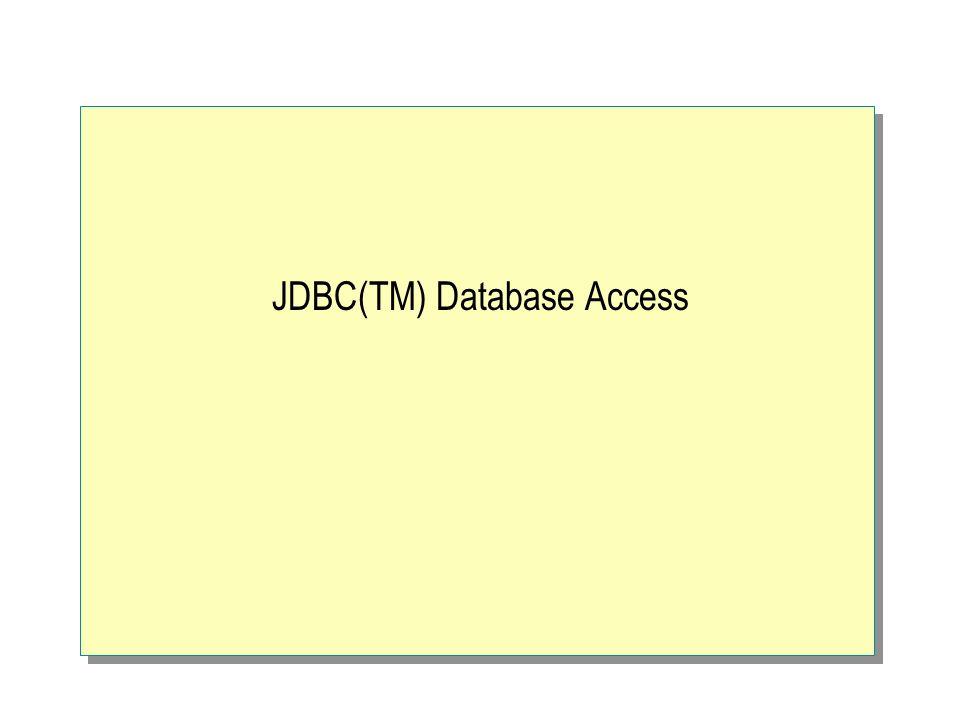 JDBC(TM) Database Access