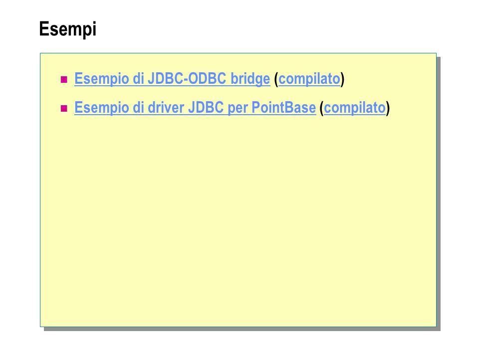 Esempi Esempio di JDBC-ODBC bridge (compilato)