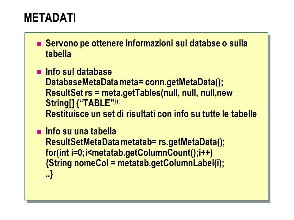 METADATI Servono pe ottenere informazioni sul databse o sulla tabella