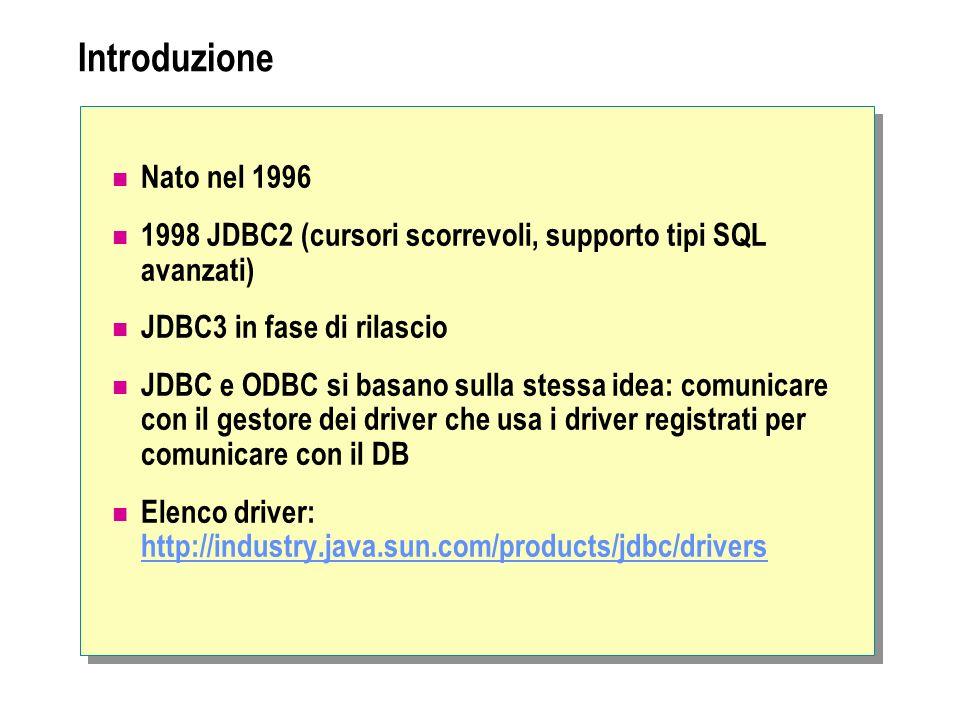 Introduzione Nato nel 1996. 1998 JDBC2 (cursori scorrevoli, supporto tipi SQL avanzati) JDBC3 in fase di rilascio.
