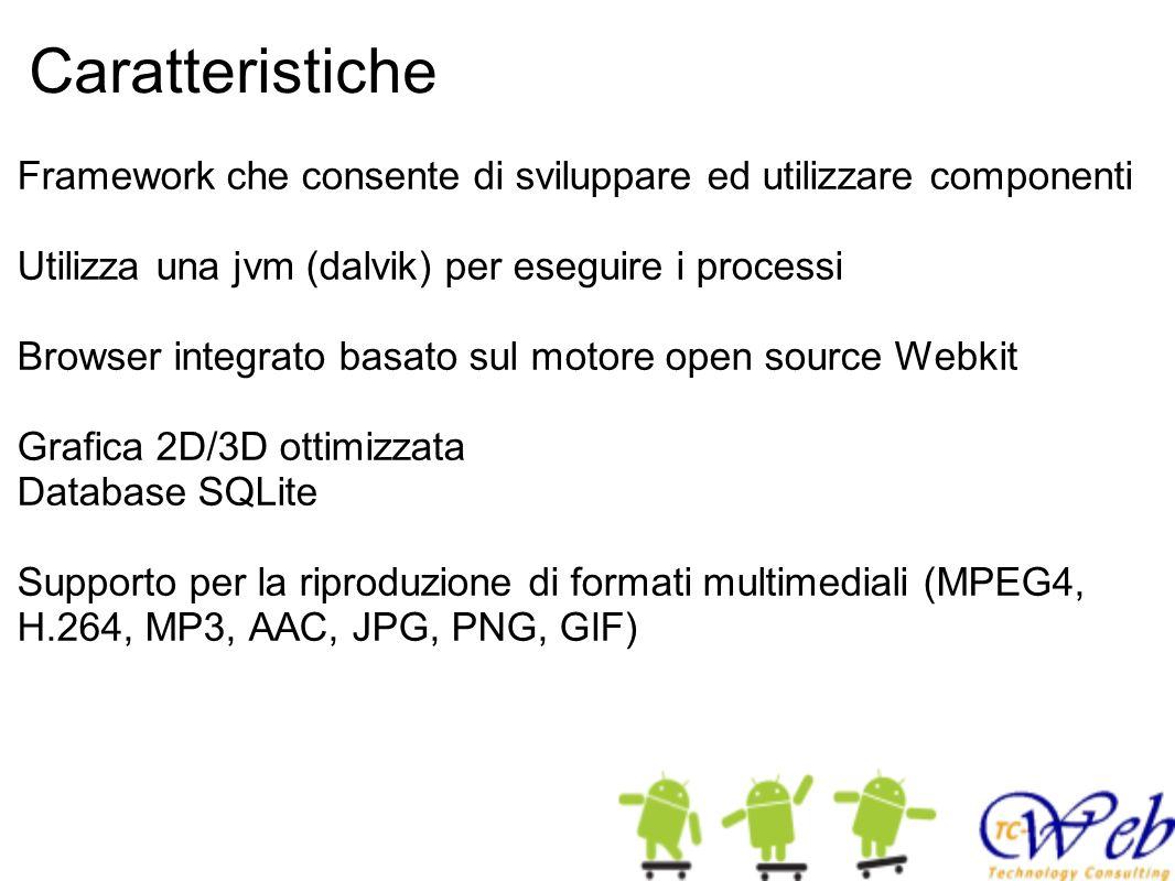 Caratteristiche Framework che consente di sviluppare ed utilizzare componenti. Utilizza una jvm (dalvik) per eseguire i processi.