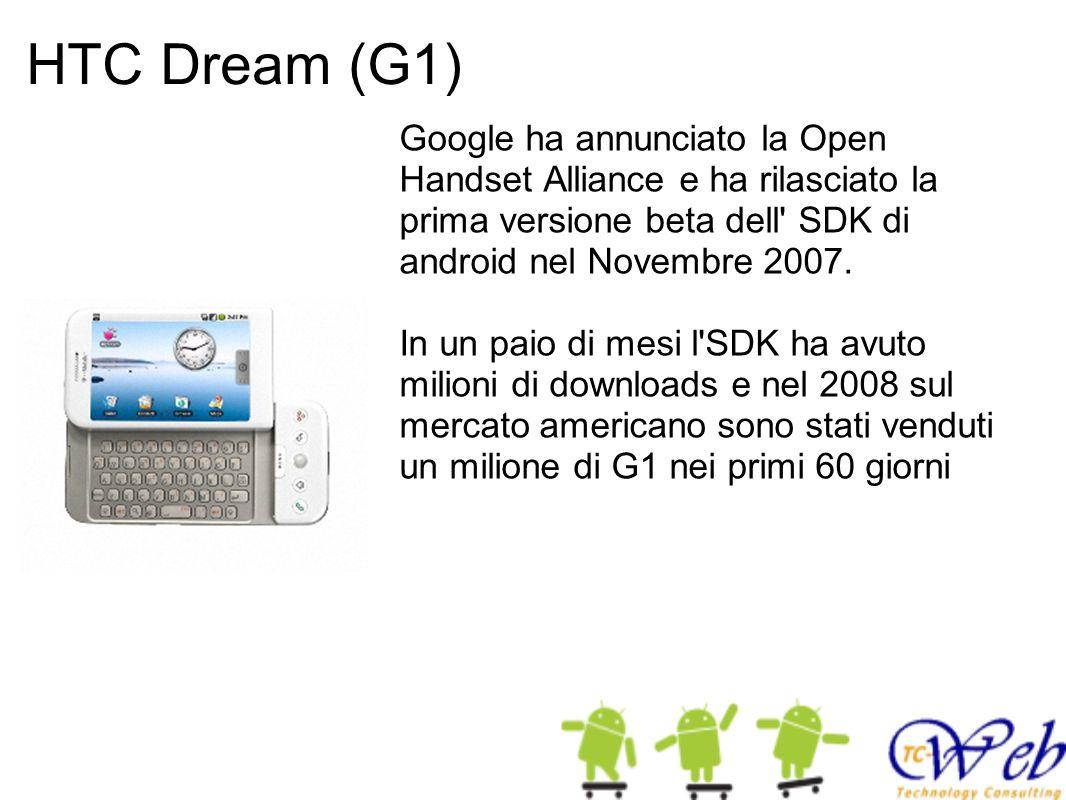 HTC Dream (G1) Google ha annunciato la Open Handset Alliance e ha rilasciato la prima versione beta dell SDK di android nel Novembre 2007.