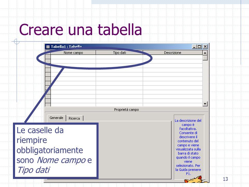 Creare una tabella Le caselle da riempire obbligatoriamente sono Nome campo e Tipo dati
