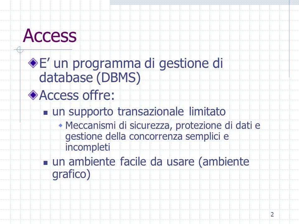 Access E' un programma di gestione di database (DBMS) Access offre:
