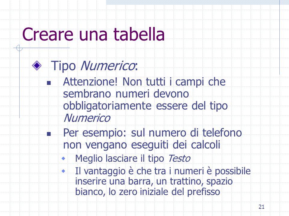 Creare una tabella Tipo Numerico: