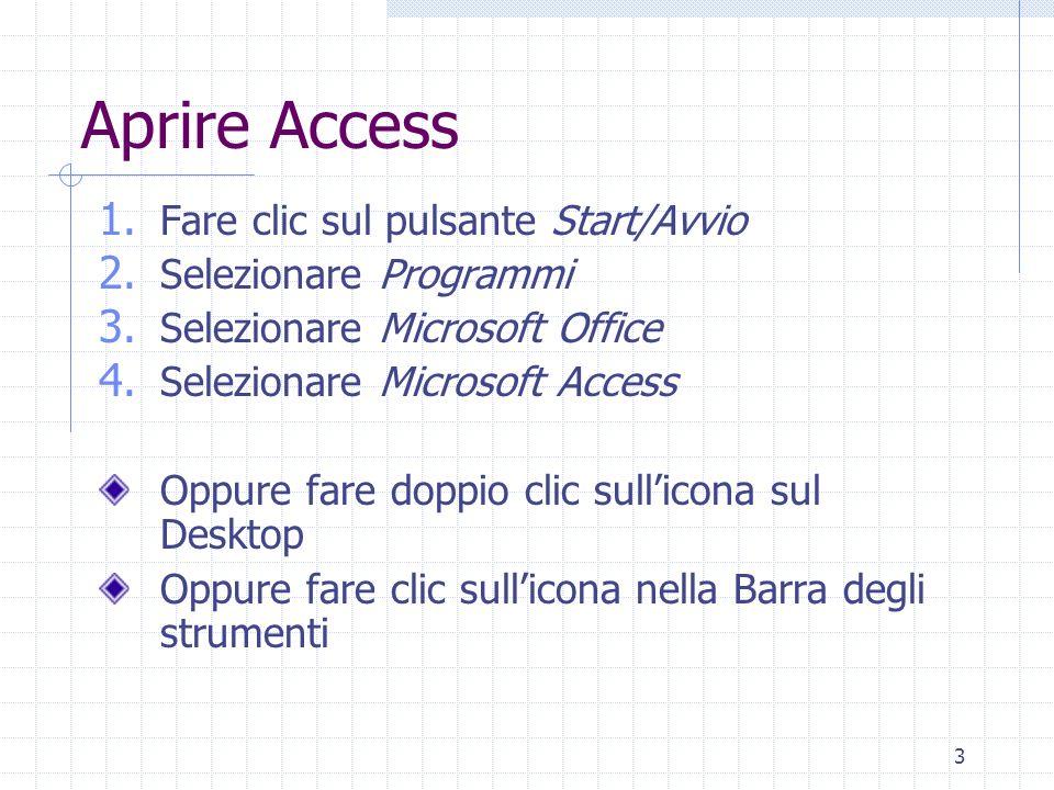 Aprire Access Fare clic sul pulsante Start/Avvio Selezionare Programmi