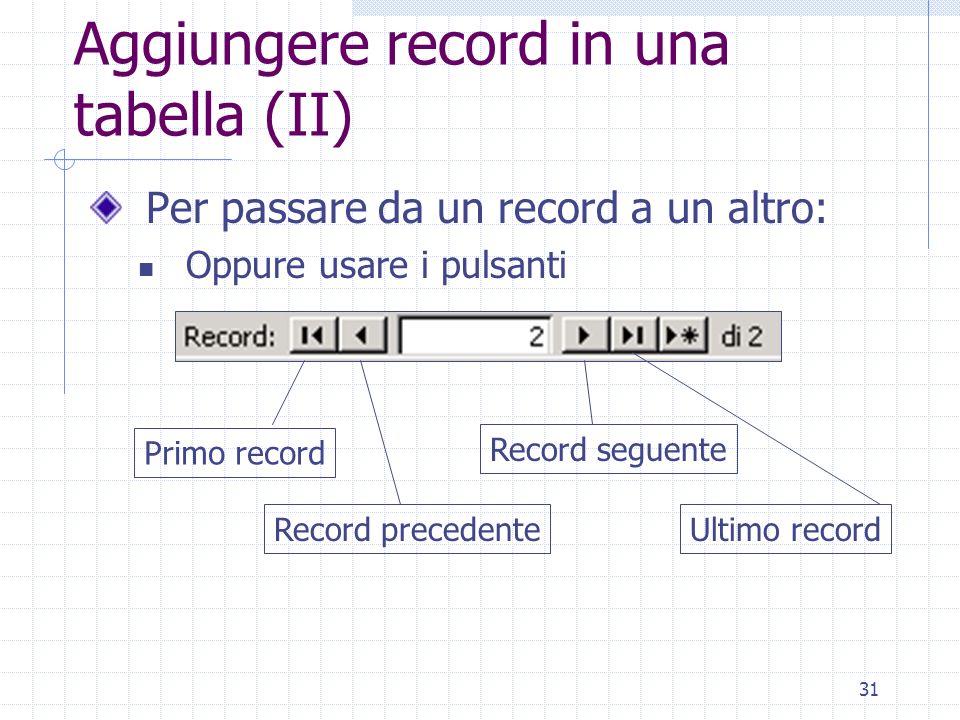 Aggiungere record in una tabella (II)