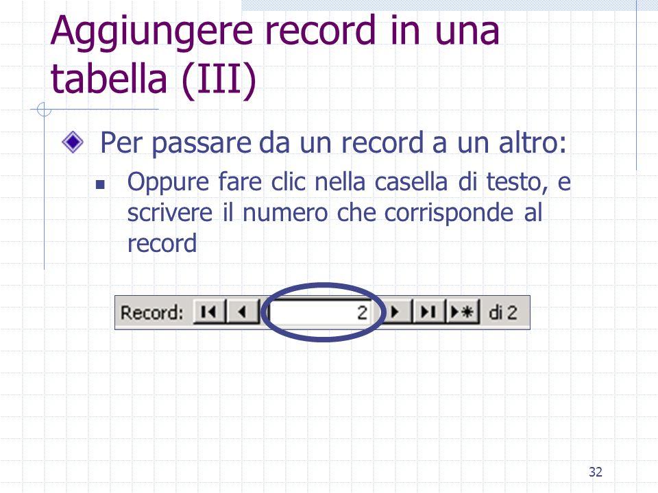 Aggiungere record in una tabella (III)