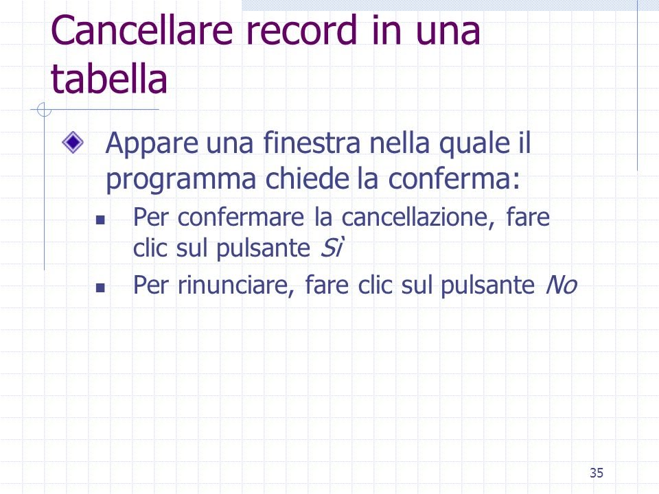 Cancellare record in una tabella