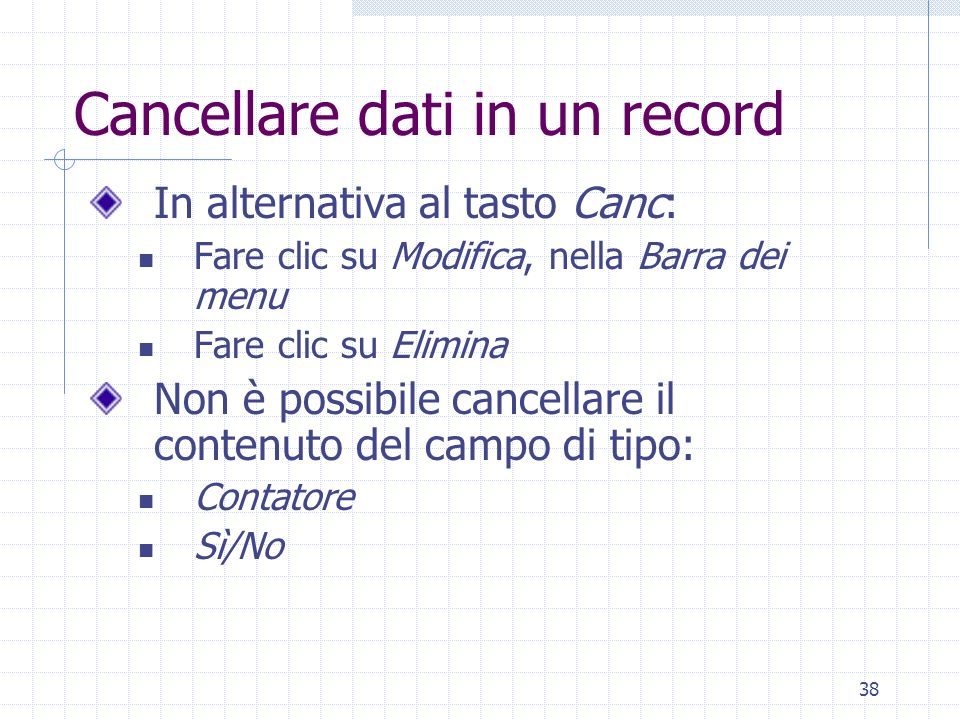 Cancellare dati in un record