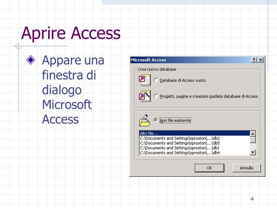 Aprire Access Appare una finestra di dialogo Microsoft Access