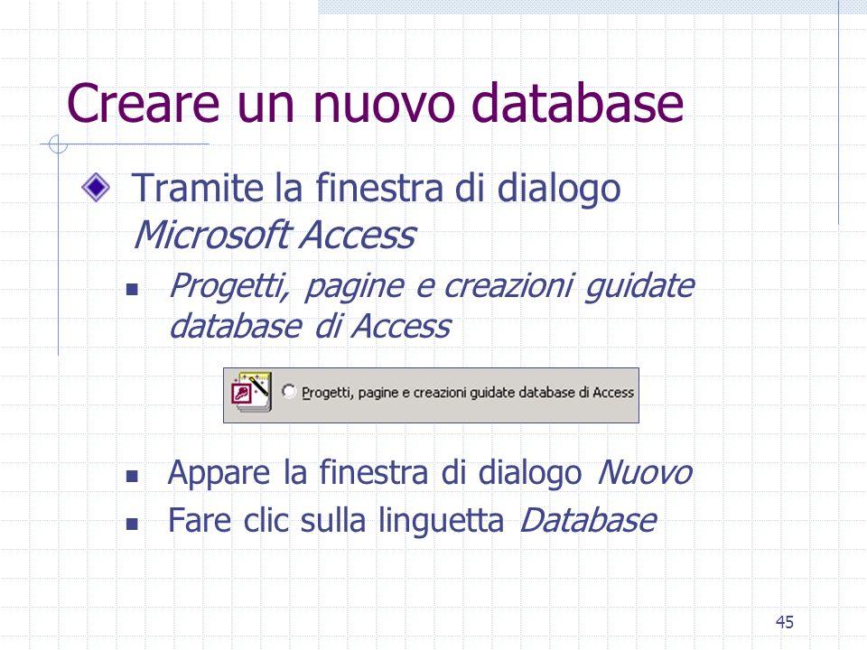 Creare un nuovo database
