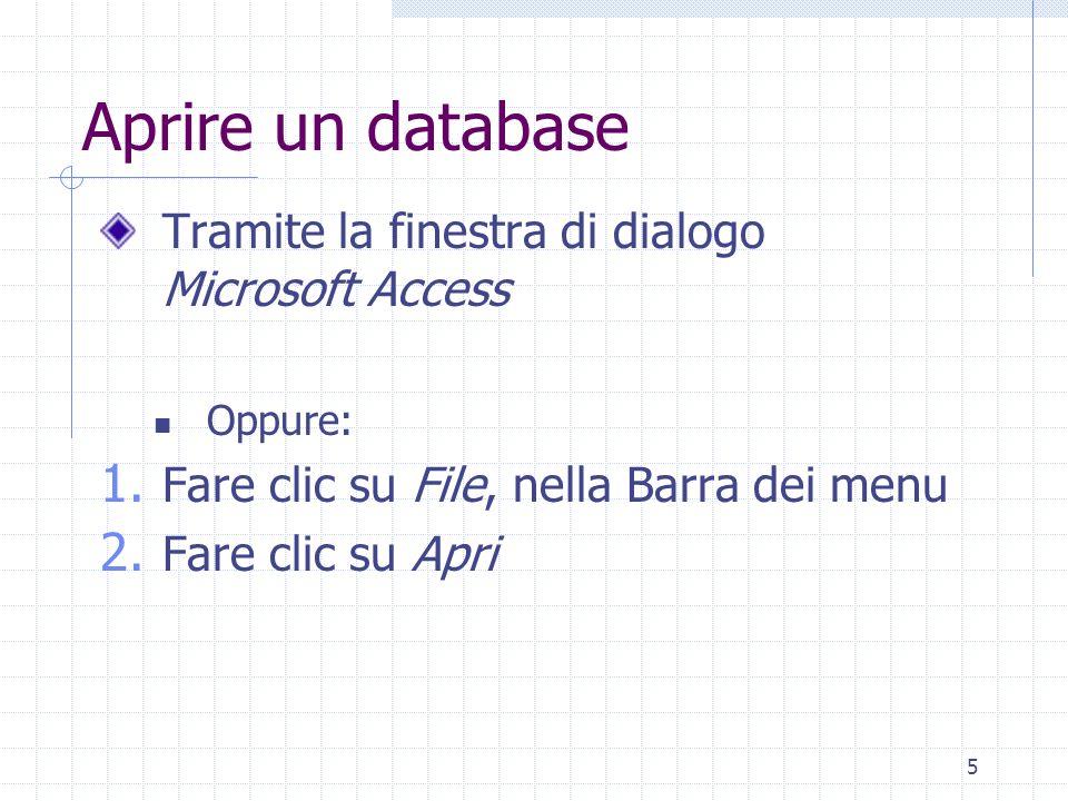 Aprire un database Tramite la finestra di dialogo Microsoft Access