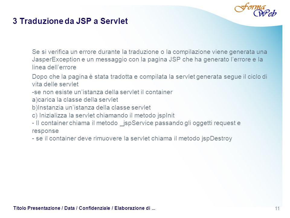 3 Traduzione da JSP a Servlet