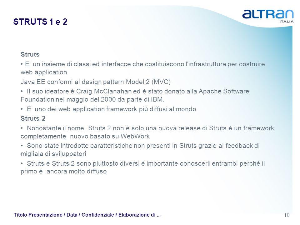 STRUTS 1 e 2 Struts. E' un insieme di classi ed interfacce che costituiscono l infrastruttura per costruire web application.