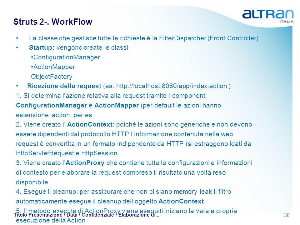 Struts 2-. WorkFlow La classe che gestisce tutte le richieste è la FilterDispatcher (Front Controller)