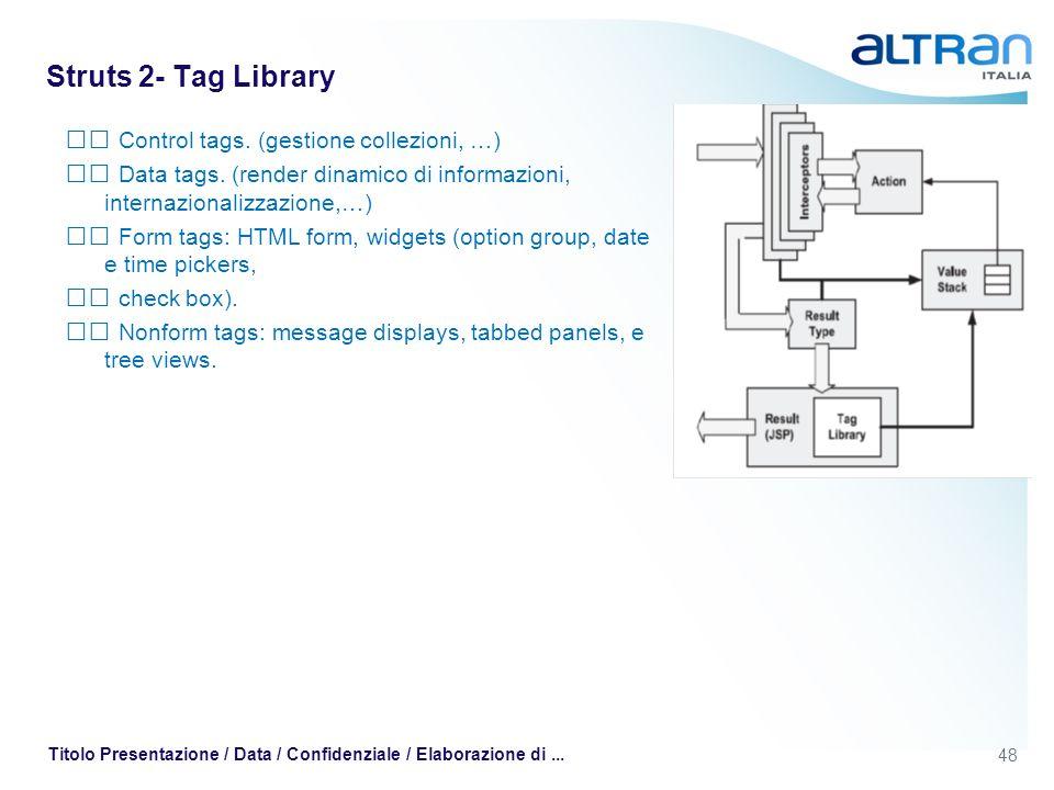Struts 2- Tag Library  Control tags. (gestione collezioni, …)