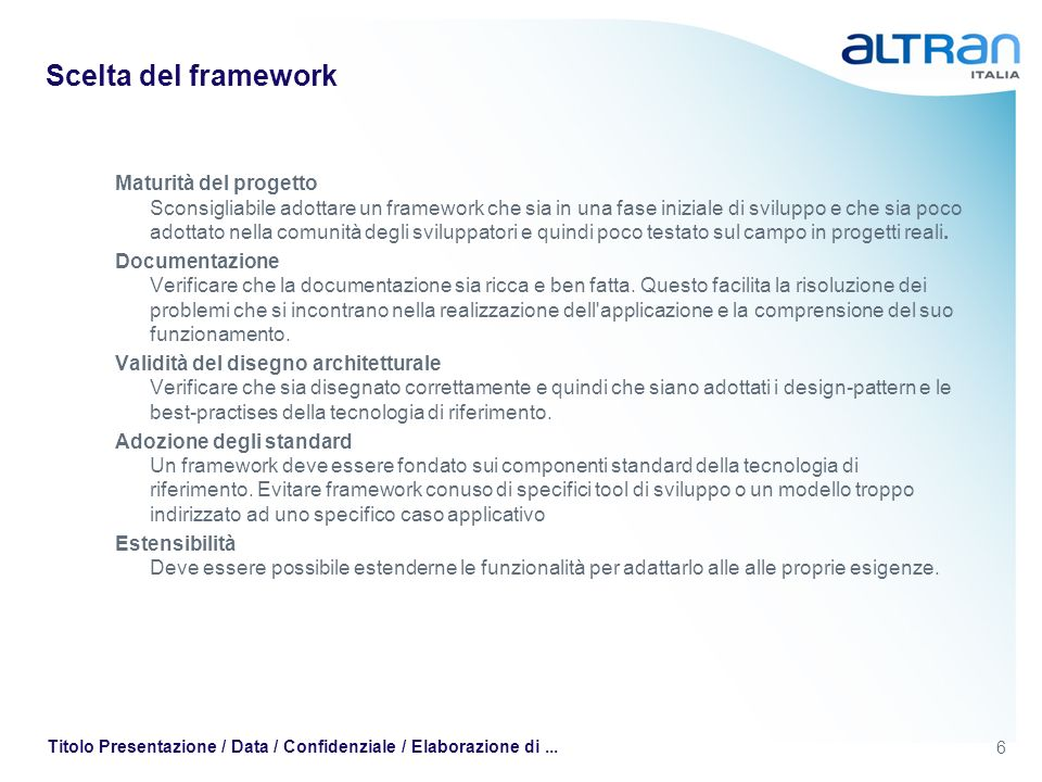 Scelta del framework