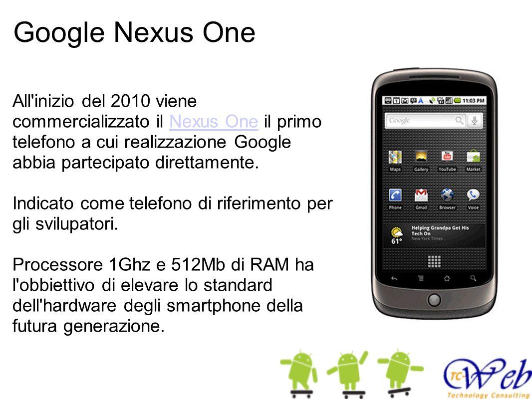Google Nexus One All inizio del 2010 viene commercializzato il Nexus One il primo telefono a cui realizzazione Google abbia partecipato direttamente.