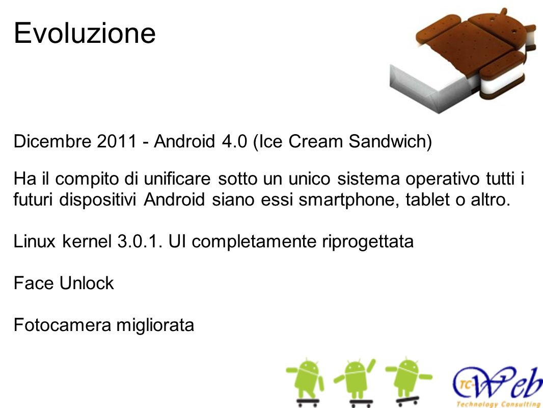 Evoluzione Dicembre 2011 - Android 4.0 (Ice Cream Sandwich)