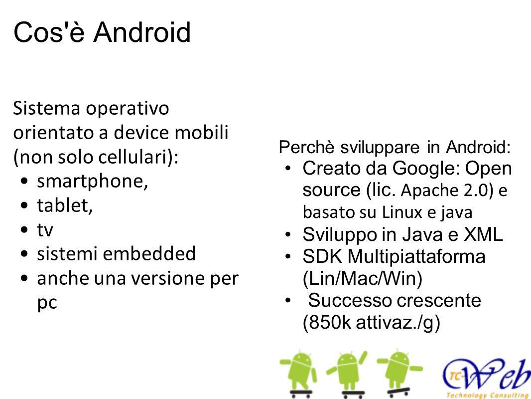 Cos è Android Sistema operativo orientato a device mobili (non solo cellulari): smartphone, tablet,