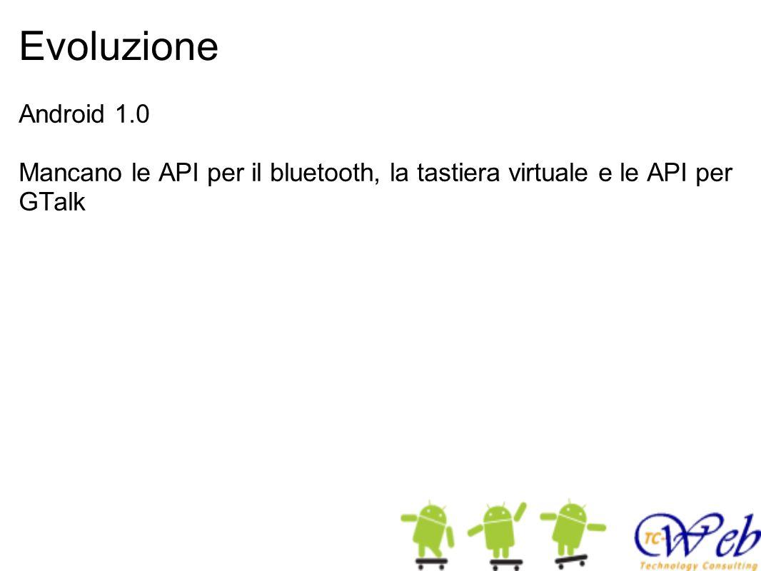 Evoluzione Android 1.0 Mancano le API per il bluetooth, la tastiera virtuale e le API per GTalk