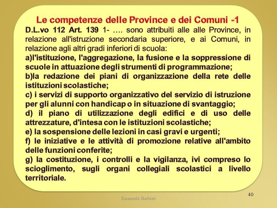 Le competenze delle Province e dei Comuni -1
