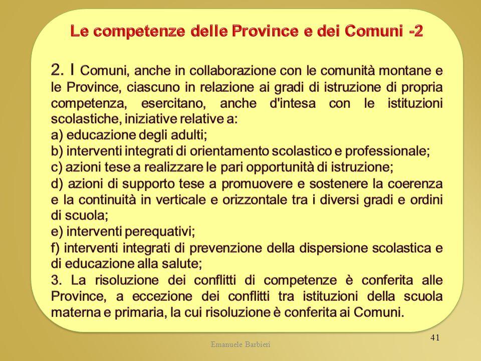 Le competenze delle Province e dei Comuni -2