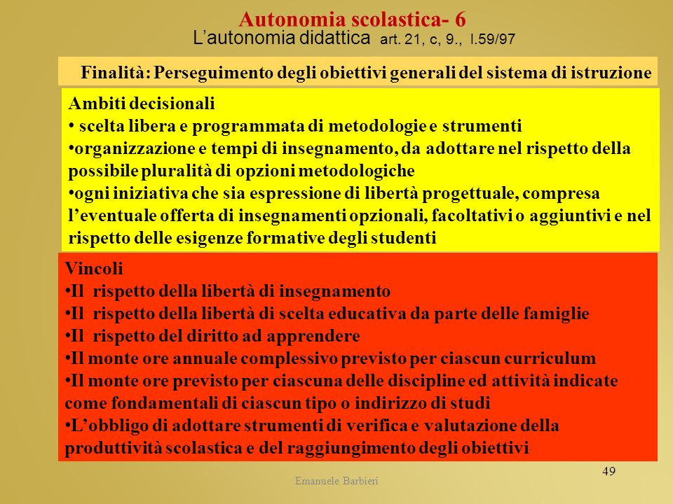 L'autonomia didattica art. 21, c, 9., l.59/97