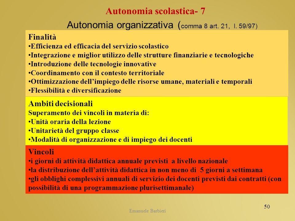 Autonomia organizzativa (comma 8 art. 21, l. 59/97)