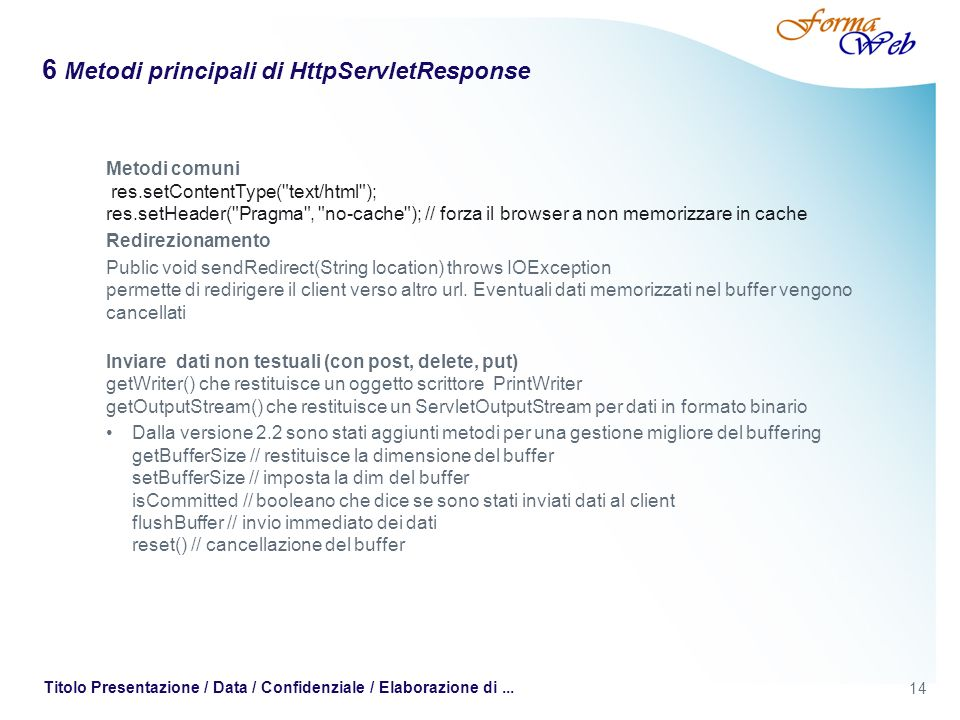6 Metodi principali di HttpServletResponse