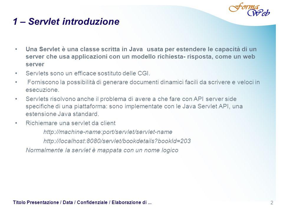 1 – Servlet introduzione