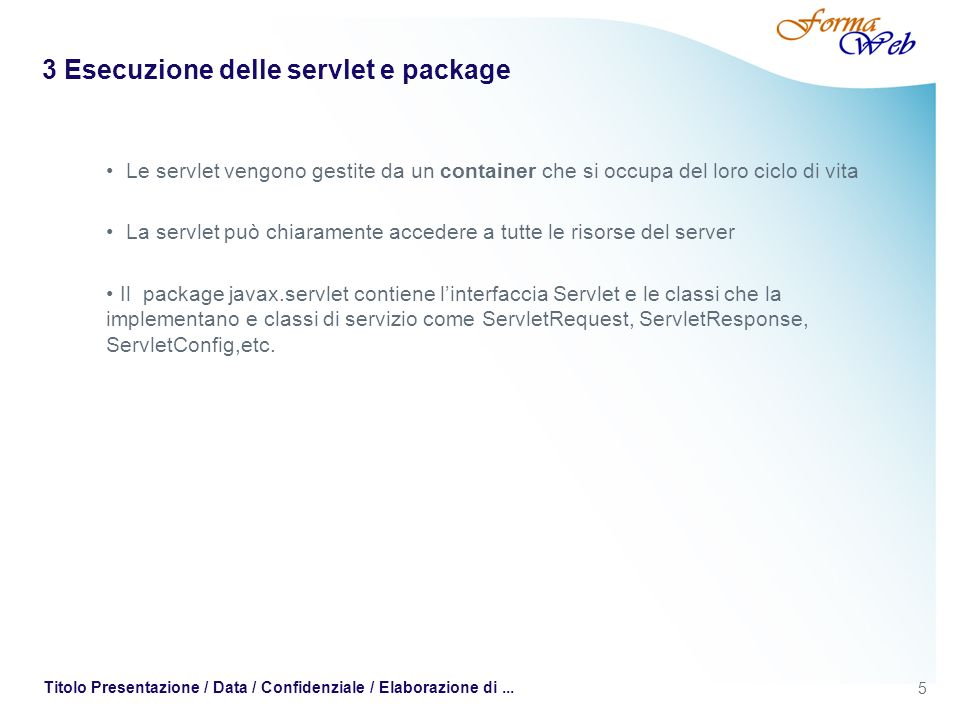 3 Esecuzione delle servlet e package