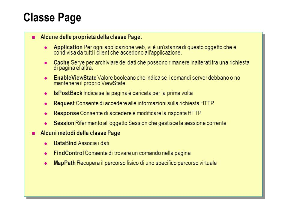 Classe Page Alcune delle proprietà della classe Page: