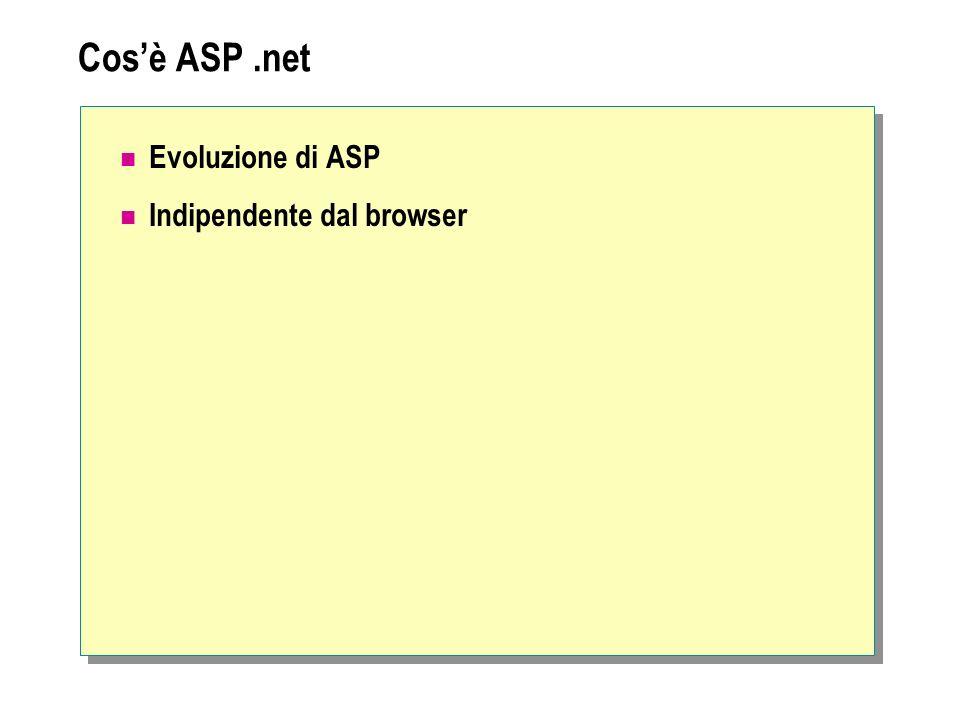Cos'è ASP .net Evoluzione di ASP Indipendente dal browser