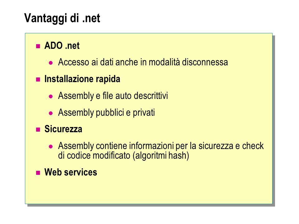 Vantaggi di .net ADO .net. Accesso ai dati anche in modalità disconnessa. Installazione rapida. Assembly e file auto descrittivi.