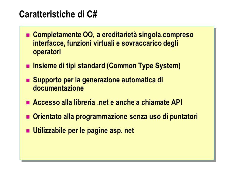 Caratteristiche di C# Completamente OO, a ereditarietà singola,compreso interfacce, funzioni virtuali e sovraccarico degli operatori.