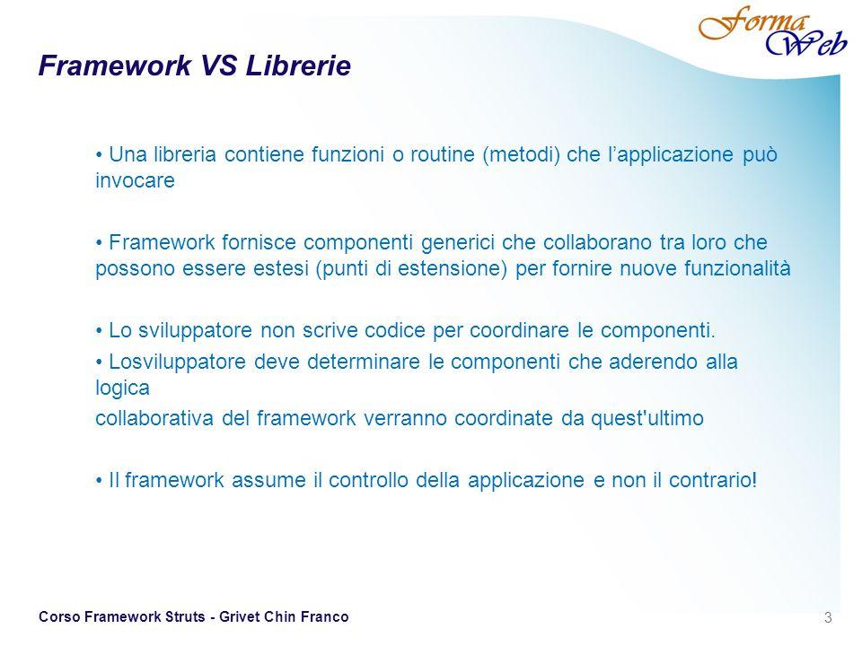 Framework VS Librerie Una libreria contiene funzioni o routine (metodi) che l'applicazione può invocare.