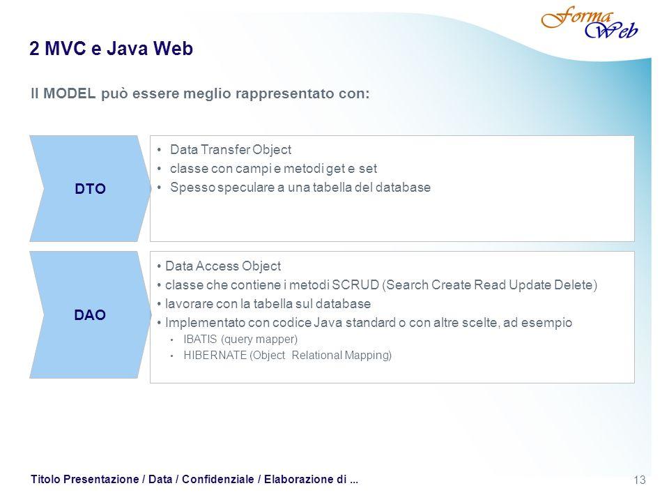 2 MVC e Java Web Il MODEL può essere meglio rappresentato con: DTO DAO